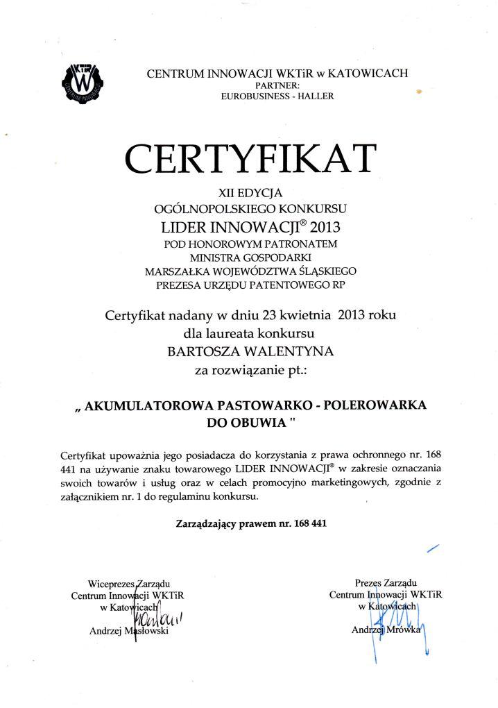 certyfikat_lider_innowacji_2013